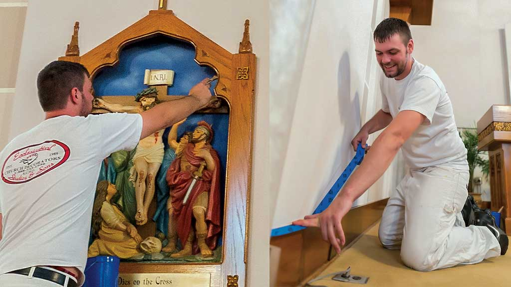 Alex painting a church